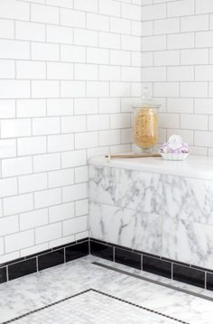 Black pencil tile Love It or List It Vancouver- Susan and Harvey- PA Liberty Marble, Imperium Border, Ant baseboard and Bathroom Baseboard, Tile Baseboard, Bathroom Floor Tiles, Basement Bathroom, Tile Floor, Black Baseboards, Hardwood Tile, Black Tiles, Mosaic Tiles