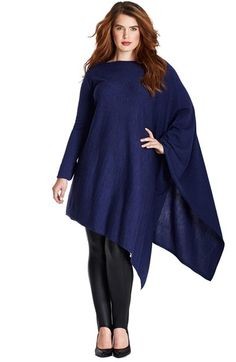 Mynt 1792 Asymmetrical Wool Knit Poncho (Plus Size) available at #Nordstrom