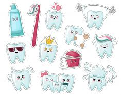 Set of kawaii kids stickers with tooth, toothpaste, toothbrush Premium Vector - Cosas Que Hacer Para Una Boca Sana Dental Pictures, Teeth Pictures, Surf Stickers, Kids Stickers, Doctor Theme Preschool, Half Birthday Baby, Pencil Drawings Of Flowers, Dental Humor, Gifts For Dentist