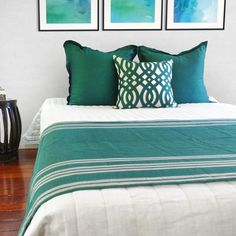 Peacock bedroom with a dash of colours and artworks by Designer Boys Art Collections #peacock #turqoise #bedroom