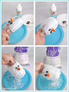 Snowman Mason Jar Luminary Ornament Craft Idea | Tween Craft Ideas for Mom and Daughter