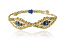 Zoe Kompitsi | White & Gold 2 Eyes Bracelet
