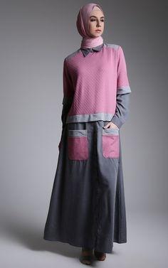 Dress - 2M Moslem Wear - Dress Dusty Novaemboss