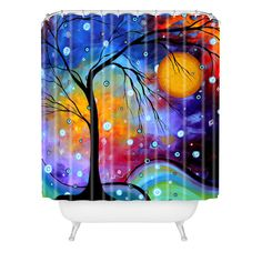 Madart Inc. Winter Sparkle Shower Curtain #festive #orange #halloween #home #decor