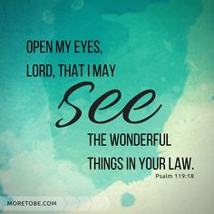 Open my eyes, Lord, that I may see the wonderful things in your law. Psalm 119:18