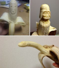 These awesome banana carvings are the work of Japanese artist Keisuke Yamada, an electrician by trade and banana sculptor in his spare time.  These detailed works of edible art are all the more impressive because they must be made quickly, before the bananas start to brown. And before the Xenomorph attacks you first.