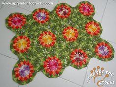 Tapete de Crochê Flor Pipoca