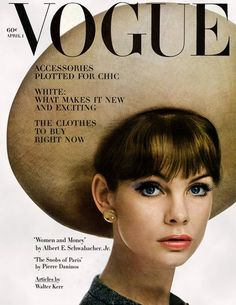 Jean Shrimpton on the cover of Vogue UK, April 1963. Photo by William Klein.