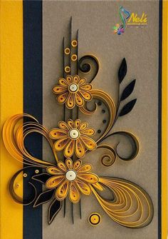 neli: Quilling card cm- cm/ Interesting color combo: black & yellow on gray! Neli Quilling, Paper Quilling Cards, Quilling Work, Paper Quilling Flowers, Paper Quilling Patterns, Origami And Quilling, Quilled Paper Art, Quilling Craft, Origami Flowers