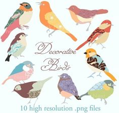 CLIP ART - Decorative birds - for commercial and personal use. €6.35, via Etsy.