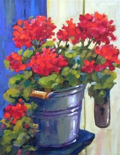 "Daily Paintworks - ""Flowers at the Door"" by Libby Anderson"