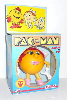 MISS PAC MAN 1984 Namco Orli Fiba Italy musical doll in box - bambola musicale Pac Man, Tweety, Videogames, Musicals, Italy, Cartoon, Dolls, Box, Fictional Characters