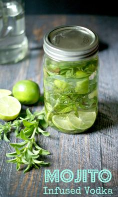 This mojito infused vodka makes the perfect Paleo or low carb drink. Infused vodka with stevia leafs, mint and lime peels for a delicious beverage!