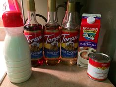 BEST HOMEMADE COFFEE CREAMER RECIPE!  Thick, sweet and delicious!  1 can of sweetened condensed milk 16 oz of Organic half and half 1/2 cup of flavoring (I used white chocolate and raspberry 1/4 cup of each)  YUMMY!