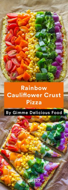 2. Rainbow Cauliflower Crust Pizza #healthy #pizza #recipes http://greatist.com/eat/healthier-pizza-recipes-better-than-delivery