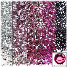 5-Pack Set (5X -2,500-Piece), Round 2mm Rhinestones, Pink Tones