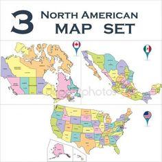 Mapa político norteamericano Vector De Stock