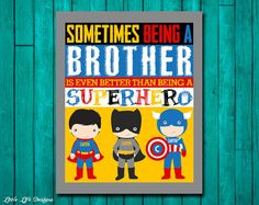 Sometimes being a Brother is even better than being a Superhero. Brother Wall Art. Superhero Boys Decor. Personalized Superhero Sign. Kids.