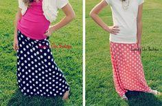GroopDealz | Popular Girls Polka Dot Maxi Skirts Size 4-12