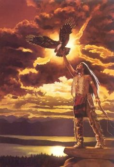 Native American believes in falcons as Falcon: Assists in soul healing; accompanies the soul back to the soul world; teaches swiftness and aerobatics of life; controls speed and movement. They Sanctifies it a lot and there are a lot of picture for them with it.