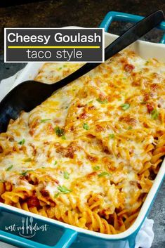 Cheesy Taco Goulash Pasta is a twist on a family staple. Cheesy, Spicy, warm comfort food with pantry staples that you can make last minute for spur of the moment entertaining! Healthy Beef Recipes, Easy Steak Recipes, Ground Beef Recipes Easy, Yummy Pasta Recipes, Beef Recipes For Dinner, Casserole Recipes, Slow Cooker Recipes, Mexican Food Recipes, Cooking Recipes