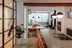 Award winning Architecture and Interior Design. Van Der Straeten, Steel Windows, Steel Beams, Basketball Court Flooring, Kitchen Pendant Lighting, Pendant Lights, Concrete Kitchen, Luxury Furniture Brands, Open Plan Kitchen