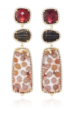 18K Gold Earring with Fossilized Coral, Trilobite Fossil, Rhodolite Garnet, and Diamond Frames  by Pamela Huizenga for Preorder on Moda Operandi