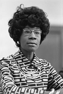 Shirley Anita St. Hill Chisholm (November 30, 1924 - January 1, 2005) was the first African American Woman elected to the United States Congress.  She was in Brooklyn, New York to immigrant parents.  Her father was from British Guiana and her mother was from Barbados.