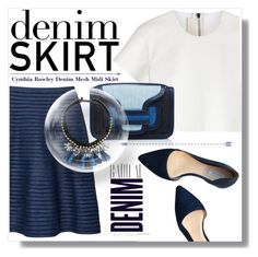 """Denim Skirt ;-)"" by myfashionwardrobestyle ❤ liked on Polyvore featuring Cynthia Rowley, Neil Barrett, Pierre Hardy, Cole Haan, Alima, Weekend Max Mara, women's clothing, women, female and woman"