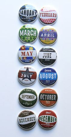 Bottle Cap Months Flair. (aflairforbuttons) - #StudioCalicoPinToWin