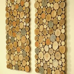 Twin wall boards of tree slices. Beautiful and oryginal wall hanging decoration. We offer you a set of two twin unique rectangular shape decors