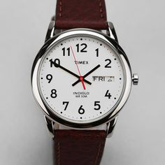 Fancy - Timex Brown Leather Easy Reader Watch