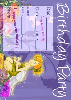 tinkerbell invitation templates free download | free tinkerbell, Party invitations