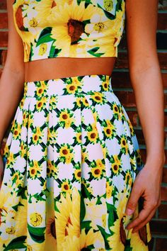 Talk about an adorable summer ensemble. This floral matching crop top and skirt set makes the perfect outfit to wear throughout the warmer months.