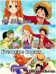 "falknerzero: ""  Esta imagen me hizo la tarde XD... -Créditos Página de Facebook: Luffy x Nami - ルナミ "" I absolutely love this."