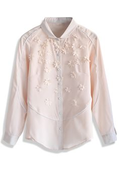 Daisy Embellished Chiffon Shirt in Pink - Shirt - Tops - Retro, Indie and Unique Fashion
