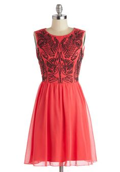Love the embroidery and teh black/coral contrast #ModCloth