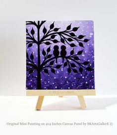 Mini Canvas art, Love birds painting, Love birds art, Mini canvas painting, Purple canvas art, desktop decor, Love birds decor, Purple art