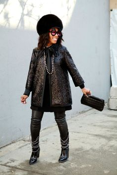 Hat: June Ambrose Design for HSN, Sunglasses: June Ambrose Eyewear, Clutch and Boots: Chanel, Jacket: Marc Jacobs, Jumper: Zara, Pearl Necklace: Valentino, Bracelet: Herm