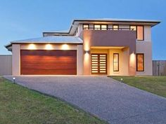 Photo of a house exterior design from a real Australian house - major roof line restyle but could be done.  Like the front entry