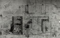 Carlo Scarpa drawings for the Cimitero Brion, San Vito di Altivole (1970/75).  Photo by superfici_di_architettura, via Flickr