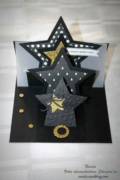 COLLER UN TRANSPARENT comme maintien de base au dos de la 1ere etoile-----------------------------Carte étoiles pop up - Stampin'up - Katia Nesiris