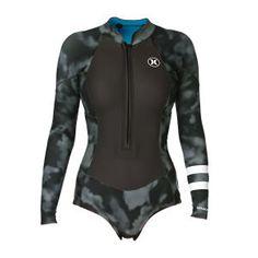 Hurley Fusion 2mm Long Sleeve Front Zip Shorty Wetsuit - Black Cloud Wash | Livraison Gratuite