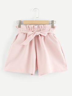 Shein Self Tie Waist Frill Trim Shorts Girls Fashion Clothes, Girl Fashion, Fashion Outfits, Clothes For Women, Fashion Styles, Fashion Ideas, Trendy Clothing, Fashion Black, Fashion Women