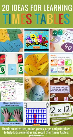 Helping Kids Learn Their Times Tables 20 Ideas For Learning Times Tables - hands on activities, online games, apps and printables to help kids remember and recall their times tables. Math For Kids, Fun Math, Hands On Activities, Math Activities, Games Memes, Learn Math Online, Math Multiplication, Learning Multiplication Tables, Homeschool Math