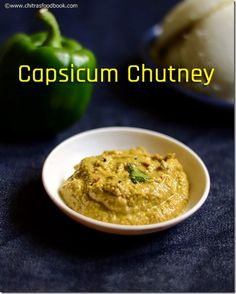 Green capsicum chutney recipe / Andhra style Capscium tomato chutney/ bell pepper chutney - yummy sidedish for idli dosa Capsicum Recipes, Veg Recipes, Indian Food Recipes, Vegetarian Recipes, Cooking Recipes, Healthy Recipes, Vegetarian Cooking, South Indian Chutney Recipes, Cooking Bacon