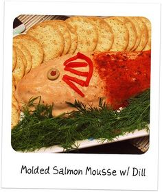 Retro Style Retro Recipes: Molded Salmon Mousse A creamy and savory salmon molded salmon mousse is a classic and kitschy way to feed a crowd. Seafood Soup, Seafood Dinner, Fish And Seafood, Seafood Recipes, 1960s Party, Retro Party, Salmon Mousse Recipes, Vintage Party Foods, Delish Videos