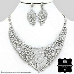 OW Rhinestone Silver & Clear Bridal Bib Necklace and Earrings Set Leaves by DESIGNERSHINDIGS on Etsy