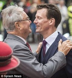 My boys! Prince Consort Henrik shared an intimate moment with his younger son Prince Joachim (pictured)