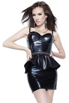 Black Leathery Wet Look Peplum Dress